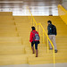 Students walk up a stairwell at the Hunt Library.