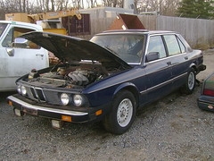 1983 BMW 528e (splattergraphics) Tags: bmw junkyard 1983 528e worldcars uppermarlboromd bbautoparts