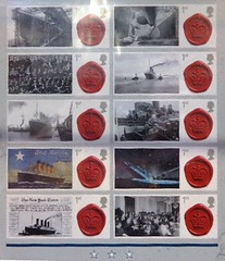 ca$hing in on the Titanic Craze- postage stamps (sftrajan) Tags: madrid espaa shop night noche spain stamps collectors plazamayor espagne spanien spagna spanje postagestamp philately sellos filatelia   postagestamps  rmstitanic     philatelie