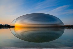 Beijing Opera House (5ERG10) Tags: china blue light sunset sky orange sun house color reflection building water glass colors sergio yellow architecture photoshop reflections gold mirror golden nikon opera shiny asia theater tramonto colours theatre alien egg sightseeing beijing sigma landmark structure sphere round handheld  colourful  sole frontpage 1020 architettura cina luce peking riflesso pekin sigma1020mm 10mm pechino zhongguo paulandreu 3xp photomatix d80 nationalgrandtheatre  amiti nationalcentrefortheperformingarts 5erg10 sergioamiti nationalcentrefortheperformingarts