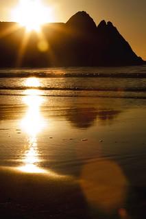 Golden sunrise at Three Cliffs Bay - Explore 2.2.2013 - thanks!