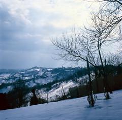 Blue winter IV (elkarrde) Tags: blue winter sky snow cold tree 6x6 tlr film clouds mediumformat square kodak slide slidefilm hills mat 124g tungsten ektachrome e6 yashica canoscan ept twinlensreflex twop 160 80mm yashicamat124g kodakektachrome160t 160asa 2011 yashinon 66 160t vuescan 8800f canoscan8800f yashinon135f80mm winter2011