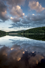 Ladybower at dusk (Keartona) Tags: ladybower reflections dusk sunset sky clouds beautiful peaceful tranquil still calm symmetry ashopton bridge arches derbyshire peakdistrict bamford england summer evening july