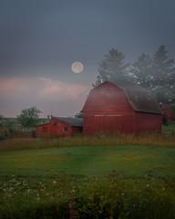 Moon Over Barn (ghunt64) Tags: sunrise barn farm rural country clouds haze fullmoon moon morning redbarn