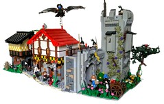 Inside Farhelm Walls (Roy of Floremheim) Tags: lego moc creation build castle medieval knights islesofaura ioa wall tower turrett tree inn buildings landscape cobblestone wagon marketscene torch lantern roof architecture green flowers bush road sign roy floremheim