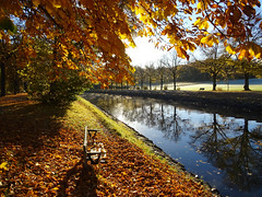 Autumn Bench by Canal (crush777roxx) Tags: crush777roxx crush 20151028 2015 october 28th compact camera sony hx60v bench leaves canal water reflection pretty sunlight trees park morning nature autumn fall stockholm sweden sverige djurgården djurgarden gärdet gardet djurgårdskanalen autumnleaves fallenleaves parkbench swedennature stockholmsverige swedenfall swedenautumn stockholmfall stockholmautumn stockholmhöst sverigehöst fallcolors autumncolors red orange yellow orangeleaves stockholmsweden compactcamera sonyhx60v