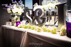 S and J (JustCallmeAV) Tags: letters love wedding canon hotel nyc flowers center piece diamonds bride