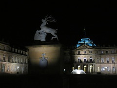 Deer statue, Neues Schloss lit at night, Stuttgart, Germany (Paul McClure DC) Tags: stuttgart germany deutschland aug2016 badenwrttemberg architecture sculpture historic