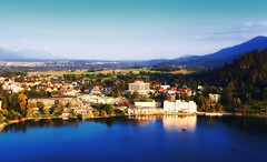 Bled, Slovenia (mike.read44) Tags: water town viewpoint bled slovenia landscape mountians lake blue sky boat sunshine