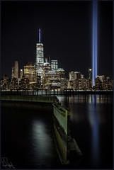 **MAY WE NEVER FORGET** (**THAT KID RICH**) Tags: richzoeller zoeller thatkidrich tkr wtc 911 tribute lights tributeinlights beams ny nyc newyorkcity manhattan remember neverforget downtown night nightphotography reflections zigzag hudson river landscape buildings canon 5dm2 longexposure september11