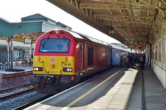 67013 at Cardiff Central. 14/9/16 (Nick Wilcock) Tags: class67 67013 dbschenker dbs skip wag 1w96 cardiffcentral holyhead arrivatrainswales atw railways wales