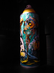 A Can Full of Surprises (Steve Taylor (Photography)) Tags: monster alien art cartoon graffiti mural model replica streetart scary spooky aerosol can spray newzealand nz southisland canterbury christchurch city festival ymca spectrum berst