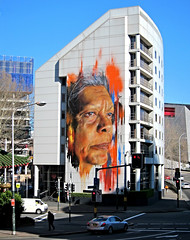 Tall Chief (Mary Faith.) Tags: graffiti street art red indian man painting airbrush darling harbour sydney building architecture