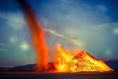 Inferno Fire Devils (digital-dreams) Tags: burningman hdr blackrockcity bm2016 johnsdigitaldreamscom burningman2016 pyramid catacombsofviel johnchandler nv