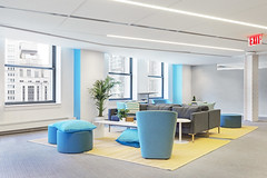 NYC Modern Office (Paintzen) Tags: startup modern office blue furniture couch chair windows bright light nyc view skyline flatiron new york business plants pillows comfortable space