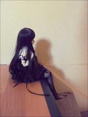 Plastic girl (ShanouElise) Tags: house girl stairs wonder asian doll stair dolls sitting room hallway dreaming plastic tiny sit dreamy bjd dollfie wondering abjd dolfie