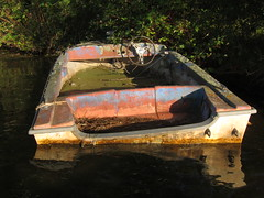 Derelict Boat 2 (Jon Archibald) Tags: old lake ontario canon boat cottage powershot algae manual swamped sunk setting derelict motorboat chemong s95