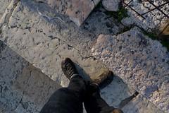 L1210064 (Darren and Brad) Tags: italy feet stone foot shoe fossil italia roman bra arena sidewalk verona ammonite marble piazza veneto marmo fossile marciapiede jupiteramon zeusammon jupiterammon
