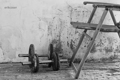a dumbbells and a chair (ErikCoser) Tags: chair dumbbells blackandwithe