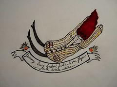 Oh Crazy Heart (P. Mockingjay) Tags: art moleskine girl robin illustration pencil paper flying drawing falling doodle