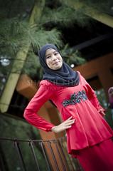 Fatin Maisurah (Shahril KHMD) Tags: red green girl smile sepia women action talent posture portraitmodel