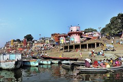 Varanasi - India (Joao Eduardo Figueiredo) Tags: old india heritage water river religious boat nikon asia indian faith religion temples sacred varanasi spiritual shiva hindu hinduism pilgrimage banks ganges ghats benares ghat holycity uttarpradesh nikond3x