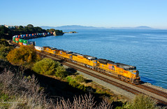 Union Pacific KOAMN Along the San Pablo Bay (Amtrakdavis22) Tags: railroad shoreline trains unionpacific freighttrain sanpablobay intermodal calp stacktrain sd70ace pinolecalifornia koamn upmartinezsubdivision