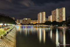 Shing Mun River (noobographer) Tags: city longexposure urban reflection water night river hongkong lights asia shatin shingmun sigma35