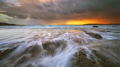 Orange Squash (Twogiantscoops) Tags: sunset orange seascape beach canon glow plymouth devon 5d 1740mm kippers fruitjuice orangesquash bovisand watermovement baconandegg iplymouth twogiantscoops