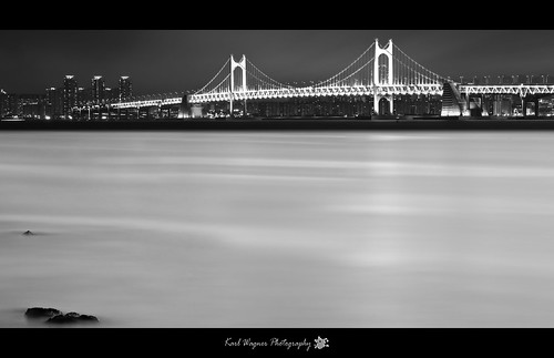 Busan - Gwangan Bridge Panorama B&W