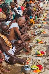 men's puja (Dean Forbes) Tags: india men prayer varanasi puja ghat