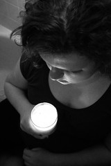 216:365 - Brave New World (KatGatti) Tags: world camera new eve light portrait bw woman white black girl self canon fire friend kat candle sister flame brave years 365 gatti