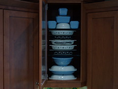 January 2013:  Black and white, and icy-blue delphite (HoneyberryHaskap) Tags: pyrex delphite fridgies