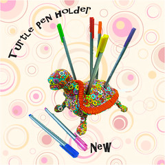 turtle pen holder (**mira pinki krispil-colors of life ***) Tags: sculpture flower art animal cane pen design israel handmade turtle decoration polymerclay fimo pdf collectible mira pinki polymer millefiori           homedecore    mirakris krispil   12pcp2013
