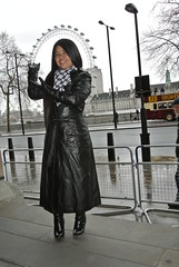 Leather Lady at the Eye (johnerly03) Tags: black leather fashion hair high long boots coat philippines heel filipina knee erly