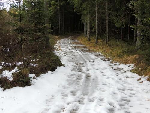 Melting skiing track