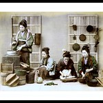 FOUR GIRLS PREPARING DINNER in OLD JAPAN thumbnail
