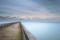Bleu (Russ Barnes Photography) Tags: longexposure blue sea france colour beach landscape coast pier nikon bleu calais d800 tiltshift leefilters 10stopndfilter russbarnes landscapephotographyworkshop leebigstopper nikkor45mmpce