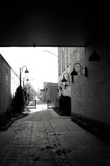 Up One's Alley (TerryJohnston) Tags: bw black mi alley noir dof br bokeh michigan bigrapids amazingmich canoneos5dmarkiii 5dmarkiii