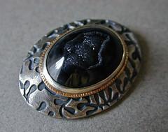 Modern Victorian brooch BAW52/3 (betsy.bensen) Tags: brooch sterlingsilver blackagate finesilver 14ktgold druzyagate baw523