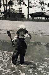 Fun at the beach in 1932 (Aussie~mobs) Tags: beach swimming 1932 vintage fun bucket child play queensland herveybay spade pialba