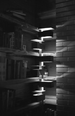 pope leighy bookshelf lights (ANC'N'VA) Tags: blackandwhite white pope black brick film frank lights virginia kodak trix bookshelf 400 lloyd electro wright 35 yashica 45mm leighy