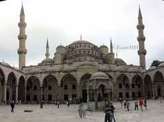 Sultanahmet (EmreHH) Tags: blue sky cloud turkey minaret türkiye istanbul mosque türkei blau cami mavi sultanahmet camii minare moschee uploaded:by=flickrmobile flickriosapp:filter=nofilter