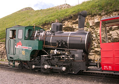 Swiss (BRB) Brienz-Rothorn Bahn 800mm gauge Class H 2/3 rack loco No. 16 at Rothorn Kulm summit station on 11 August 2016 (A Scotson) Tags: rackandpinion rackrailway cograilway slm brienz rothorn brienzrothornbahn brb swiss steam 800mmgauge narrowgauge mountains locomotive train