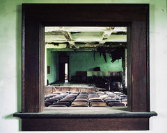(.tom troutman.) Tags: mamiya 7 film analog 120 fuji pro 400 50mm abandoned school northcarolina 6x7 theater auditorium