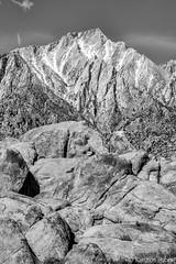Lone Pine Peak 6850_B&W (www.karltonhuberphotography.com) Tags: 2016 alabamahills bw blackandwhite boulders california easternsierra geologichistory geologicwonder geology granite karltonhuber landscape landscapephotography lonepinepeak mountainpeak outdoors rockformations rocks ruggedcountry verticalimage wildplaces wilderness