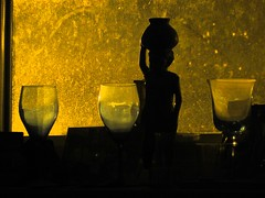 my bedroom windowsill at night, 2016-08-26, 04-55-23 (tributory) Tags: home insomnia light dark foundobjects yellow glass wood carving sculpture black window scatter refraction dust surface dirt
