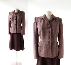 1950s Autumn in Glasgow wool plaid suit, by Whitley-ette (Small Earth Vintage) Tags: smallearthvintage vintagefashion vintageclothing womensfashion suit skirtsuit 1940s 40s brown plaid wool whitleyette