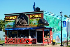 Beaver House, Grand Marais Minnesota (Cragin Spring) Tags: sportinggoods building fishing fish lures walleye mural beaverhouse mn midwest grandmarais grandmaraismn grandmaraisminnesota minnesota store colors bright beaverflicks ice maps bait tackle unitedstates usa unitedstatesofamerica architecture
