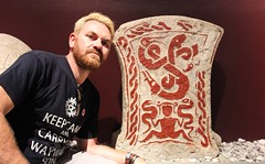 Craig with a rune stone in Visby museum (ec1jack) Tags: visby museum gotland sweden picture rune stone ec1jack kierankelly canoneos600d august september 2016 summer europe scandinavia